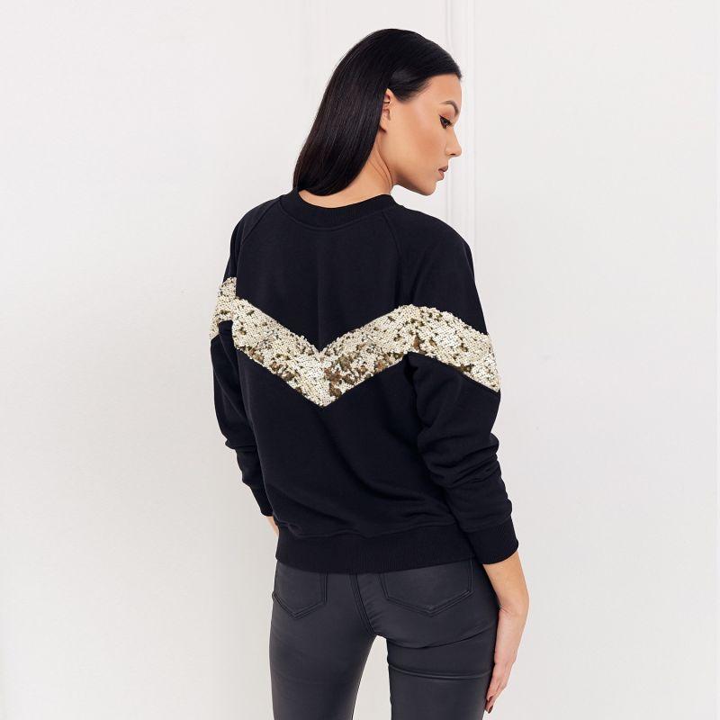 Elegant Jumper Black Nero With Sequins image