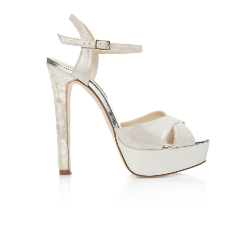 Cici Ivory - Open Toe Statement Heel In Ivory Shimmer Suede image