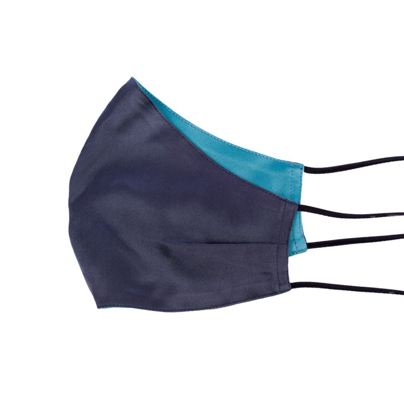 Two-Sided Grey & Cloud Blue Silk Face Mask image