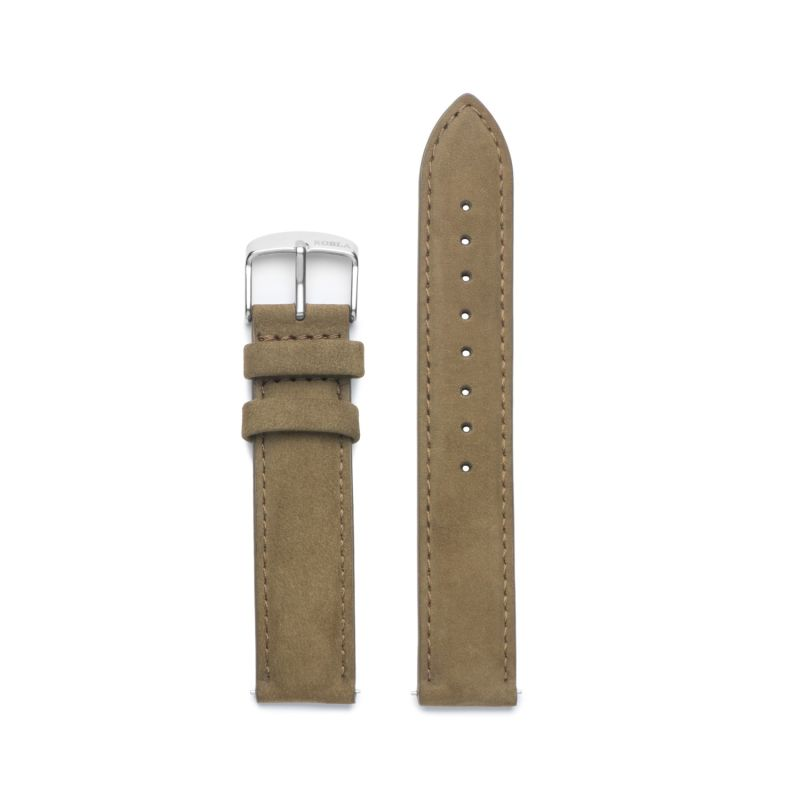 KOBLA Silver Case / Black Dial / Khaki Suede Leather image