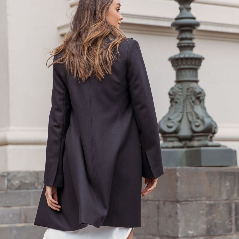 Wool Cashmere Tailored Coat - French Navy image