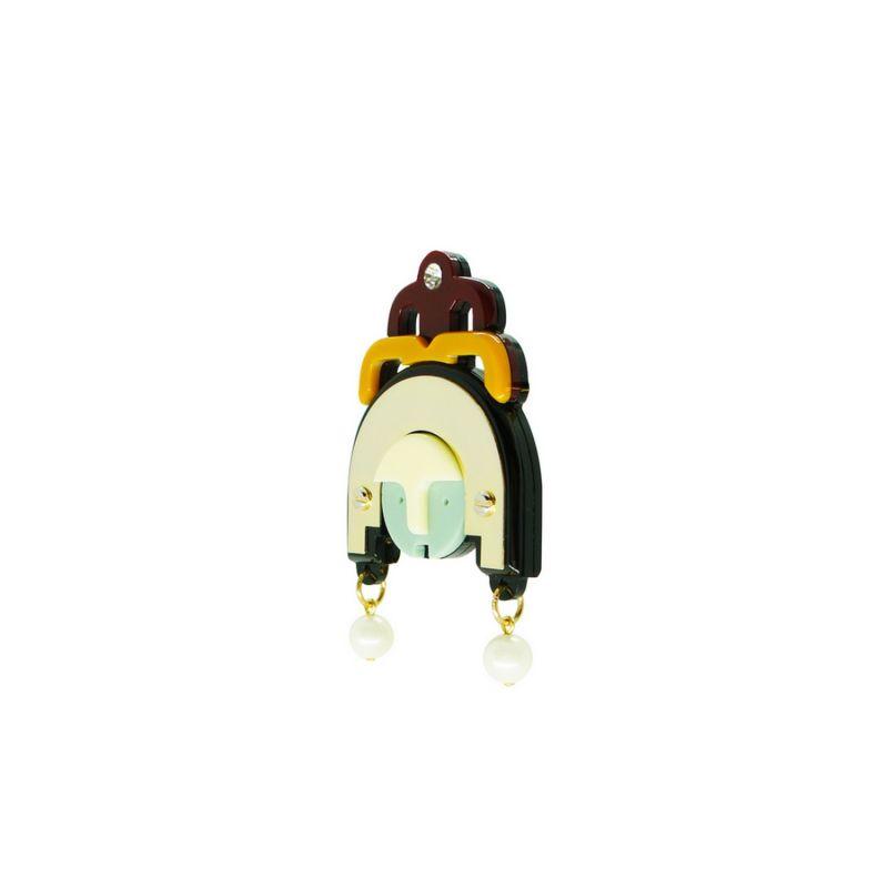 Acrylic Handmade Brooch Ixchel - Mustard image