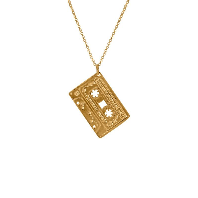 Mens Mixed Tape Pendant In Gold - Cassette Tape Necklace With Chain image