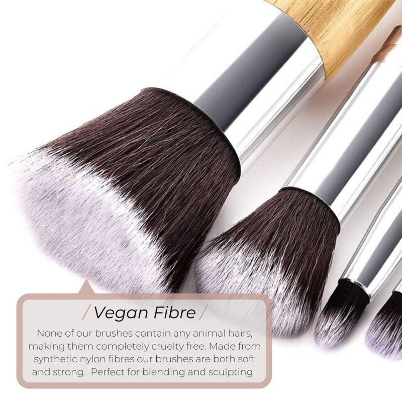 Full Vegan Makeup Brush Set - Bamboo & Silver image