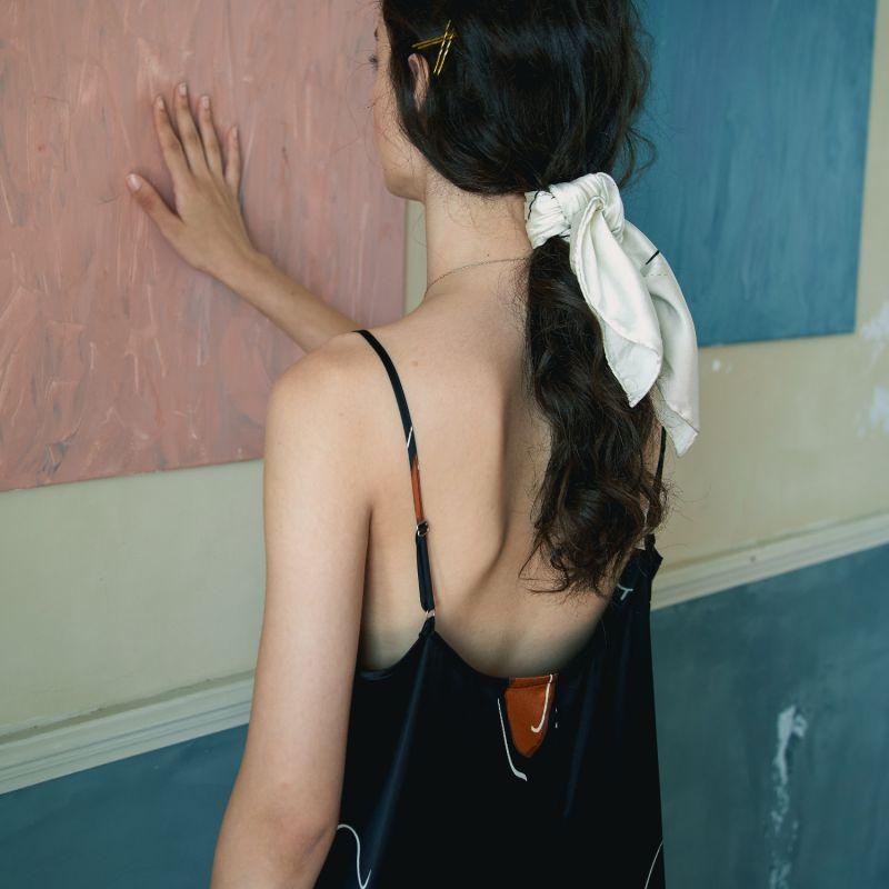 The Dream Art Printed Silk Scarf- Black image