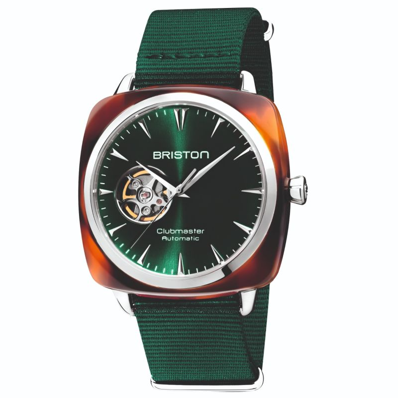 Briston Clubmaster Iconic Open Automatic Tortoise Shell, Sunray British Green Dial image