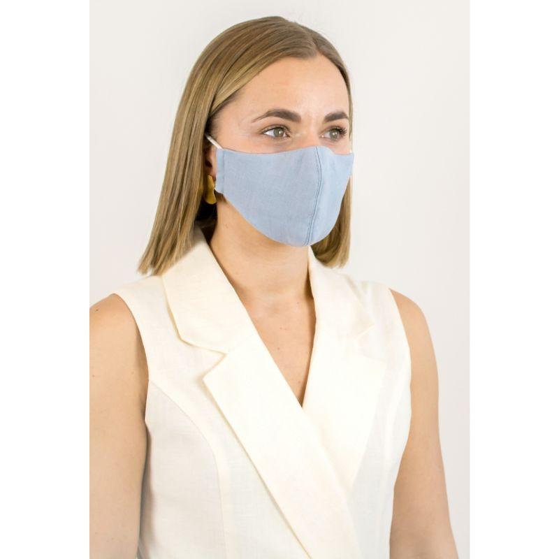 Light Blue Linen Cotton Face Mask With Filter Pocket image