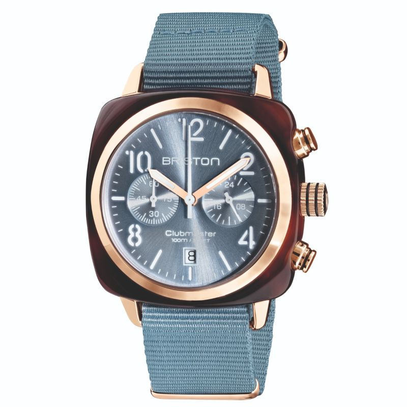 Briston Clubmaster Classic Chronograph Tortoise Shell Acetate, Sunray Ice Blue Dial And Rose Gold image