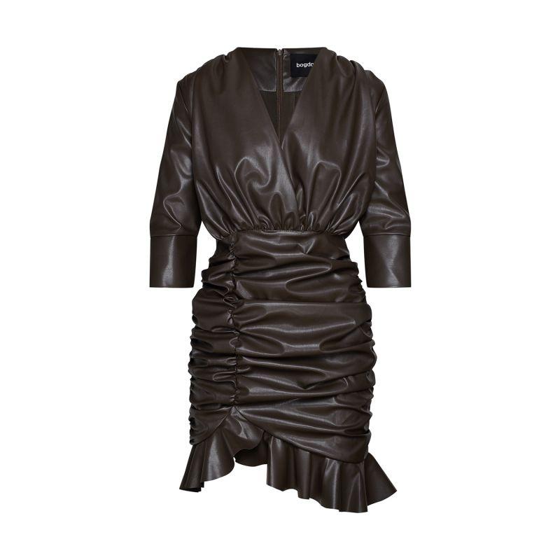 Ruched Vegan Leather Mini Dress image