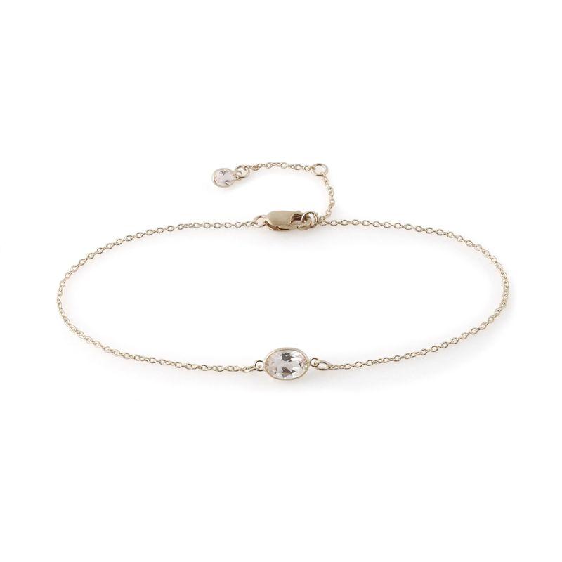 Single Stone Bezel Set White Topaz Bracelet In 14 Karat White Gold image