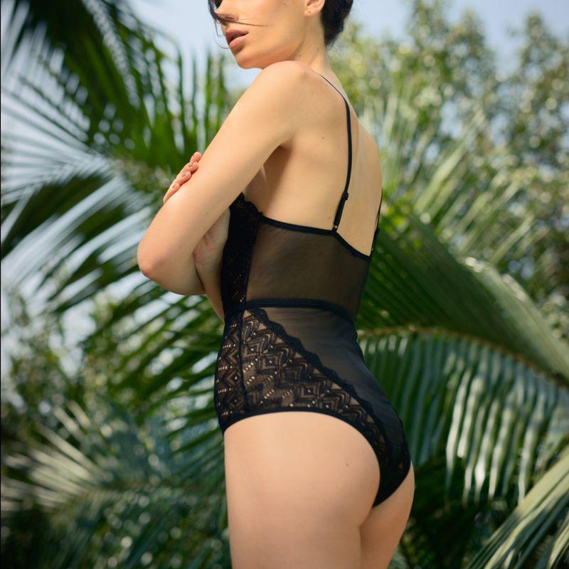 Berlin Geometric Lace Lined Bodysuit image