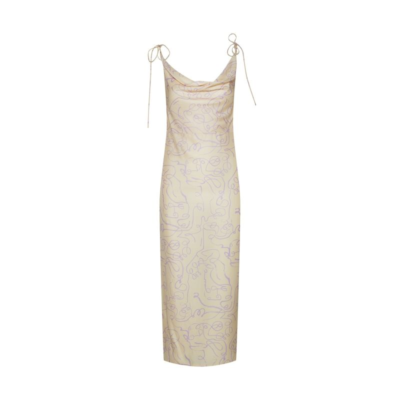 Organic Silk Cowl Neck Dress image