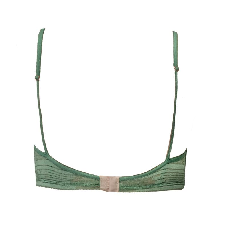 Cleopatra Green Geometric Lace Triangle Bralette image