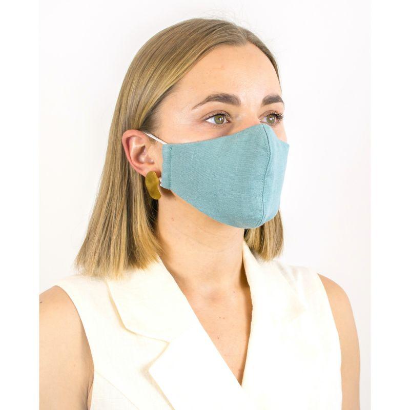 Cadet Blue Linen Cotton Face Mask With Filter Pocket image