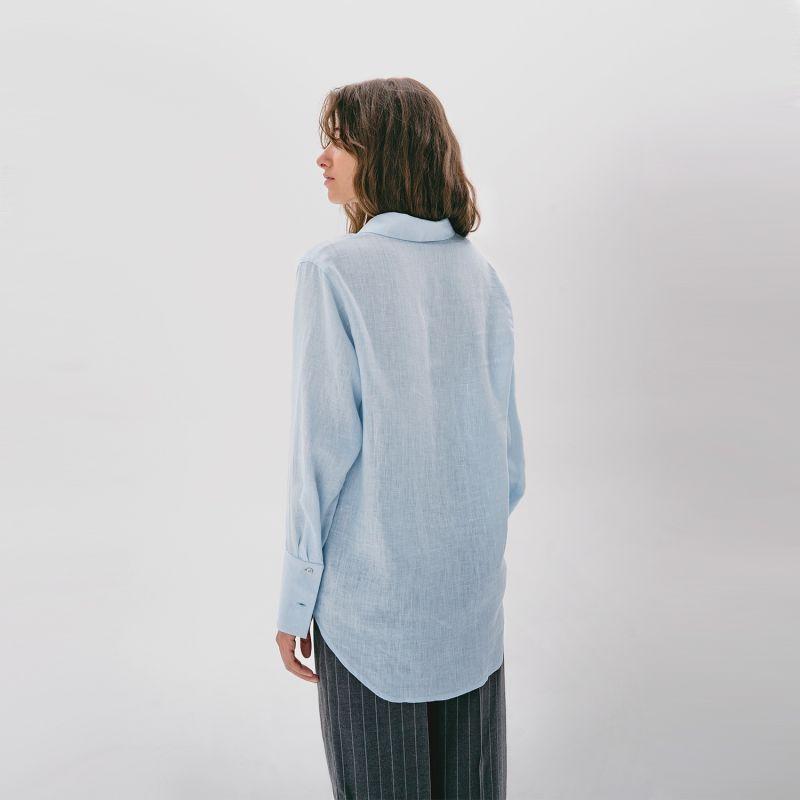 Wide-Cuff Oversized Button Up Linen Blend Shirt image