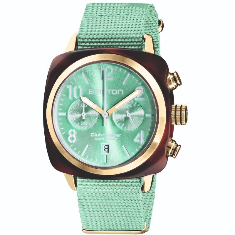 Briston Clubmaster Classic Chronograph Tortoise Shell Acetate Mint Green image