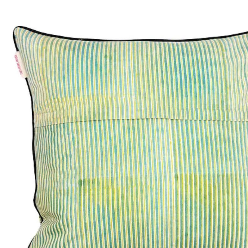 Sky Kotiya Large Cotton Cushion With Black Piping image