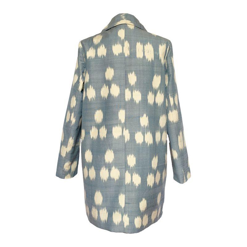 The Phaedra Silk-Cotton Blue & White Ikat Print Coat image