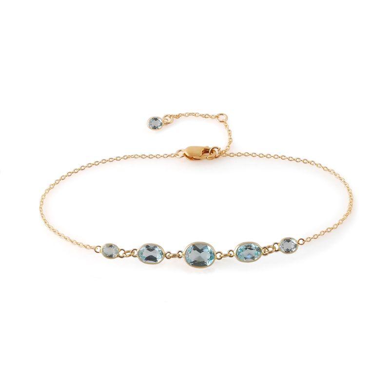 Five Stone Bezel Set Blue Topaz Bracelet In 14 Karat Yellow Gold image