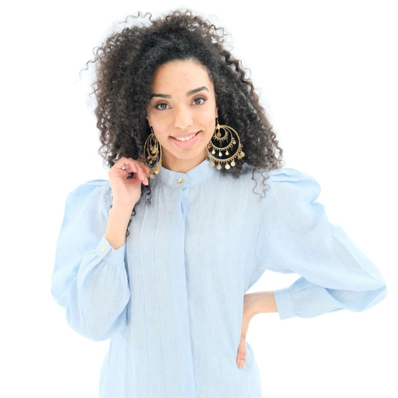 Blue Rose Linen Shirt Dress With Puff Sleeves image