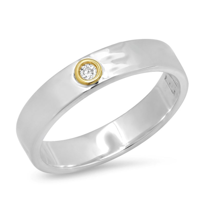 """Sterling Silver With 14K Gold """"Liquid Metal"""" Narrow Hammered Band With Diamond image"""
