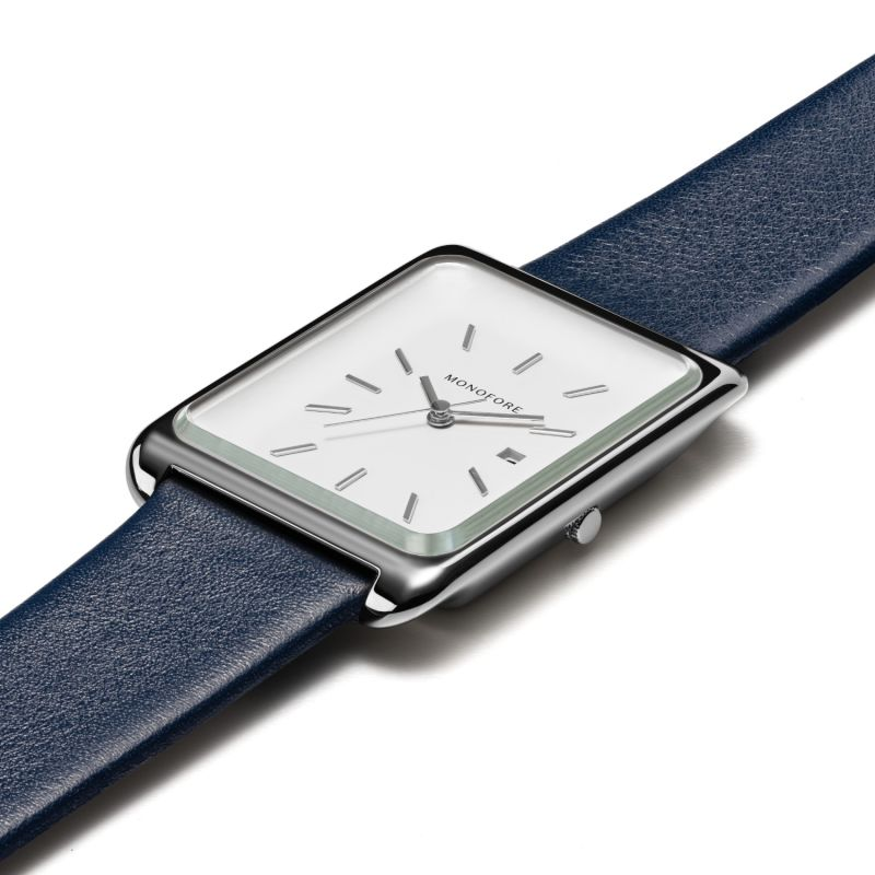 Monofore M01 Silver 41mm - Navy Leather image