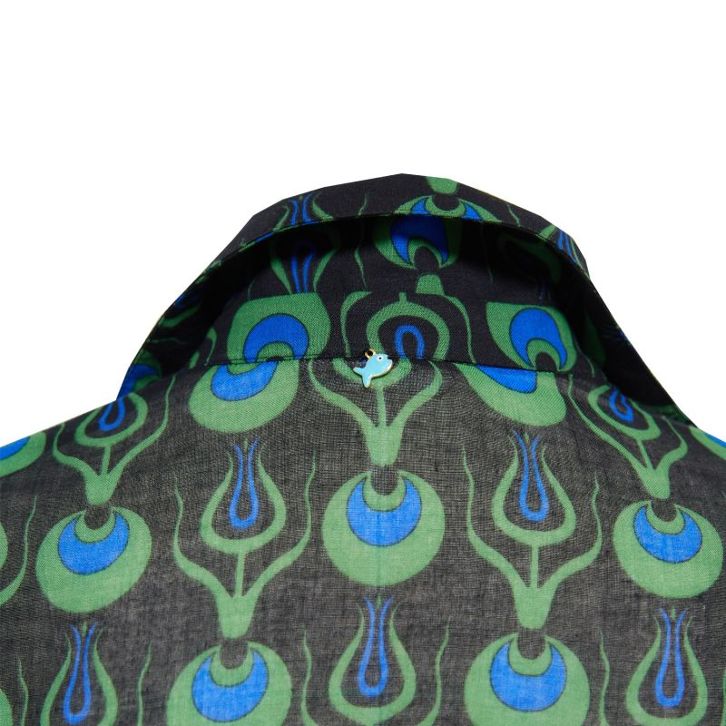 Dress Shirt With Tulip Design In Black image