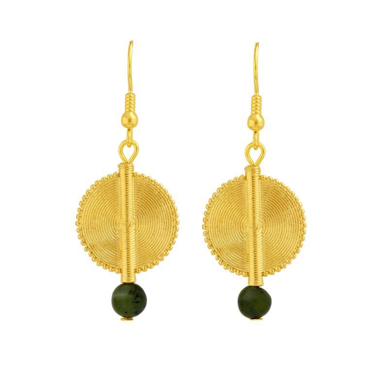 Akan Gemstones Earrings - Green Serpentine image