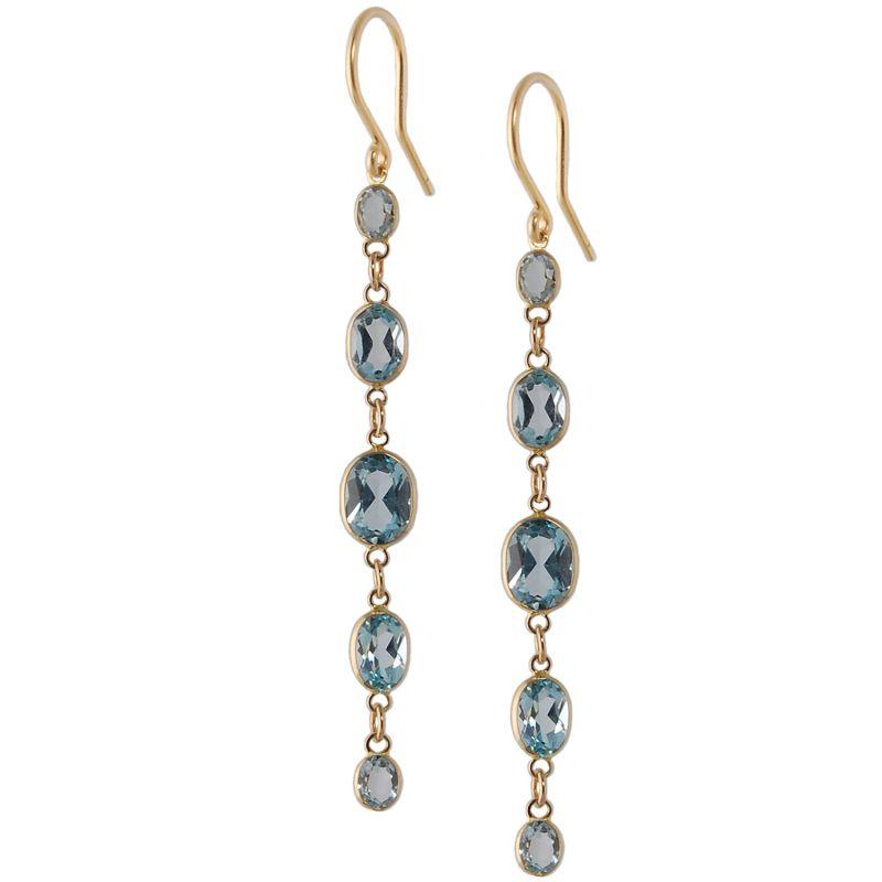 Five Stone Bezel Set Blue Topaz Earrings In 14K Yellow Gold image