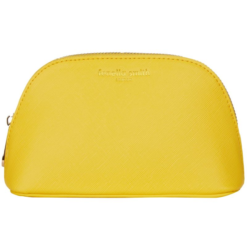 Yellow Vegan Leather Oyster Cosmetic Case image