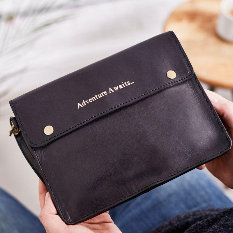 Adventure Awaits Black Leather Travel Wallet image