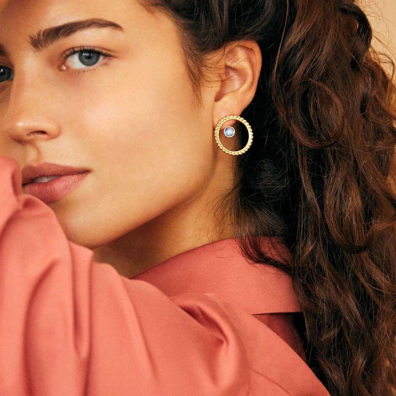 Circle Pearled Earrings & Stone Ear Jacket- Gold & Rainbow Moonstone image