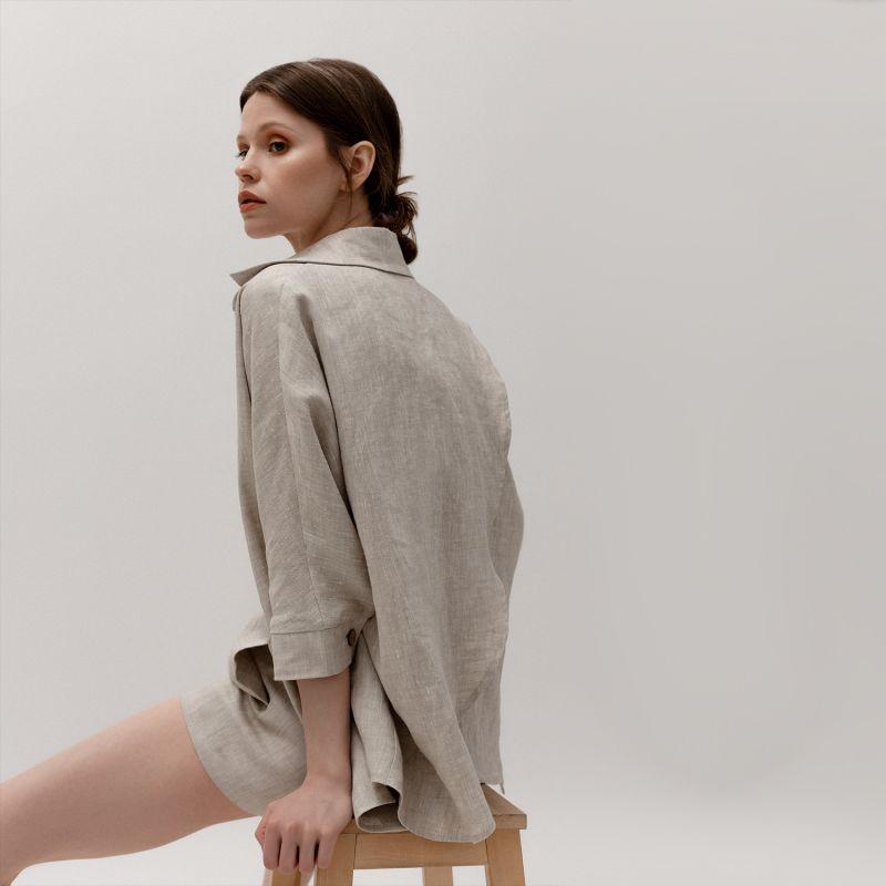 Oversized Linen Shirt & Shorts Set In Natural Colour image