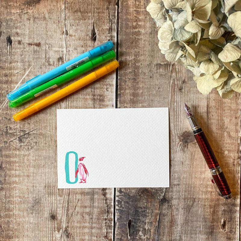 Penguin Letter O Notecards: Pack Of 10 image