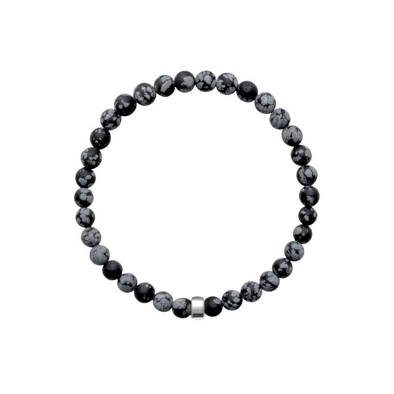 ARO Men's Snowflake Obsidian Bracelet Silver Bead image