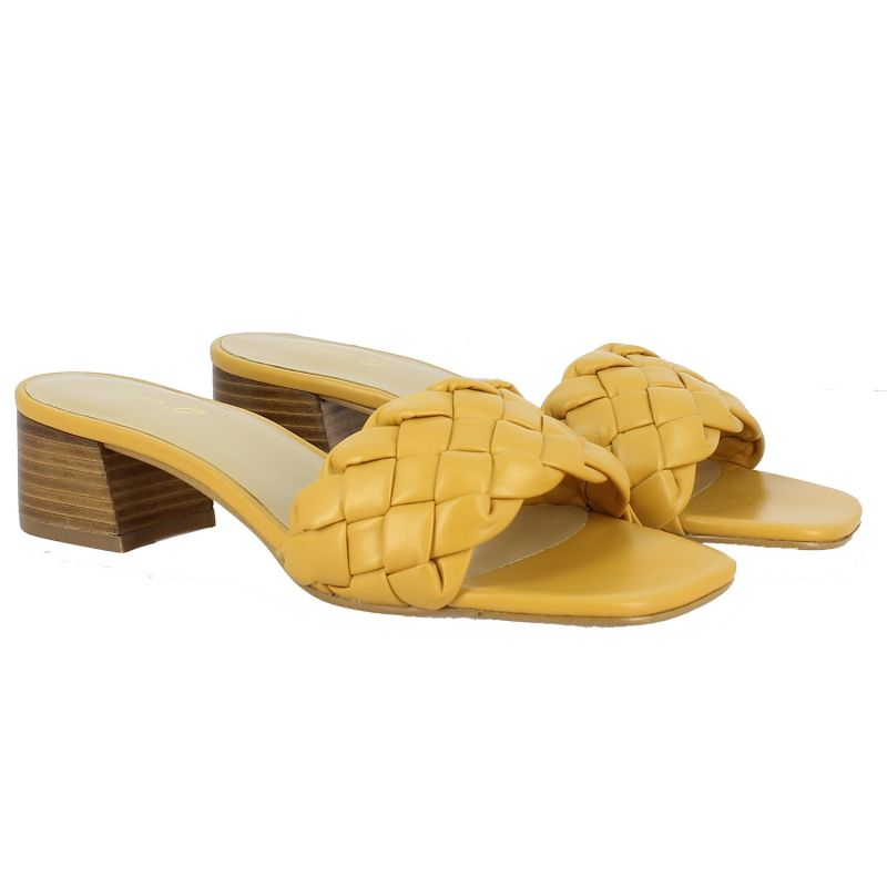Kate Woven Heeled Sandal - Yellow image