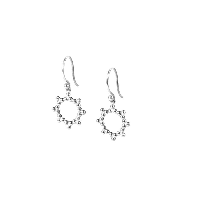 Silver Drop Earrings Sun - Silver image