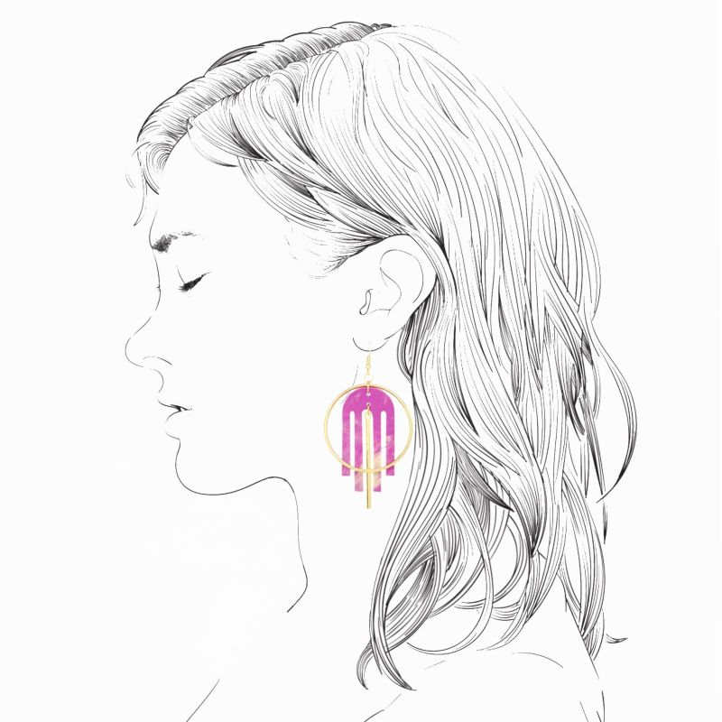 Arch Deco Statement Earrings in Periwinkle Pearl & Gold image