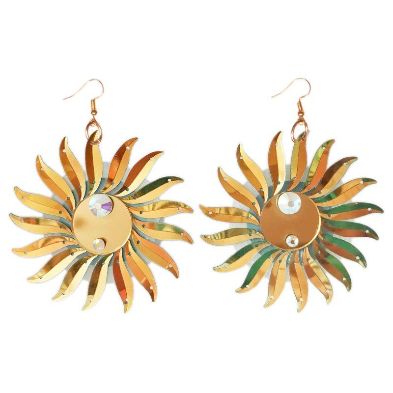 Gold Iridescent Sun Statement Earrings image