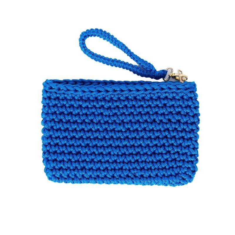 Crete Handmade Crochet Clutch in Blue image