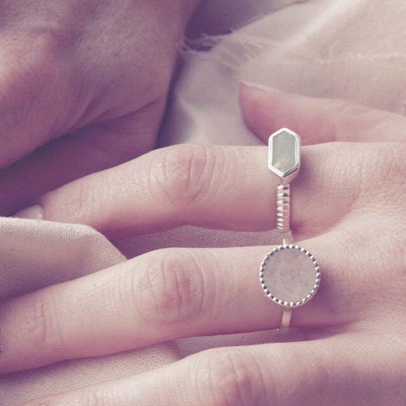 Raya Rainbow Moonstone Silver Ring image