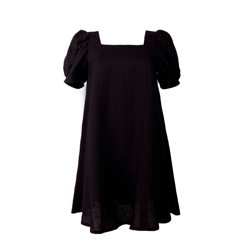 Short Sleeve Linen Blend Black Dress image