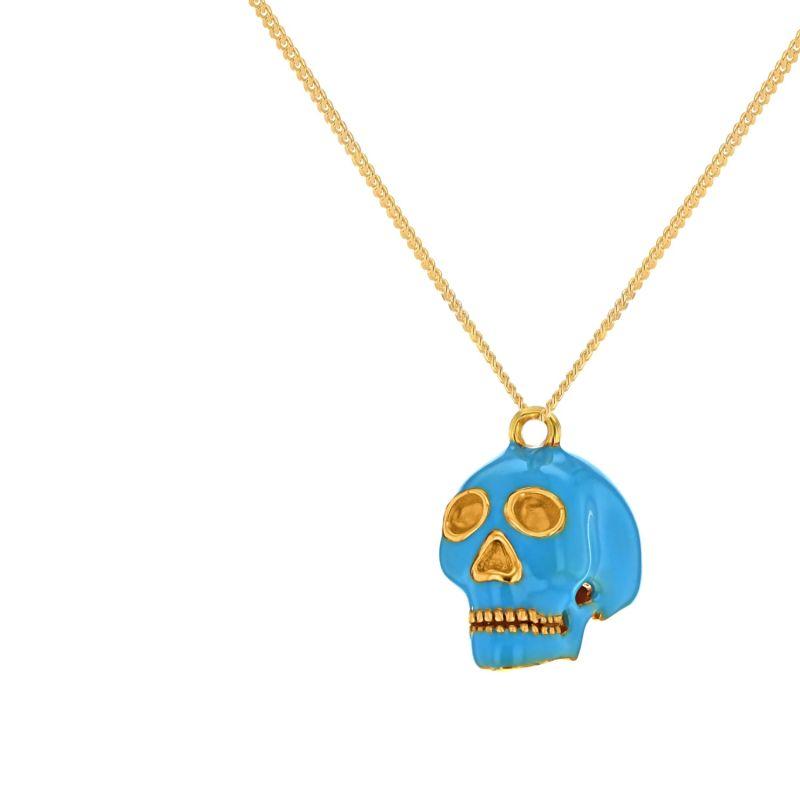 18Kt Gold Plated & Turquoise Mini Skull Pendant image
