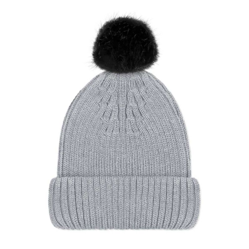 Women's Pure Merino Ribbed Beanie With Small Black Faux Fur Pompom Grey image