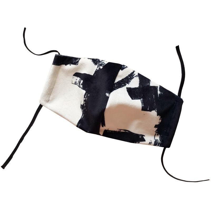 Black & White Abstract Mark Making Velvet Face Mask image