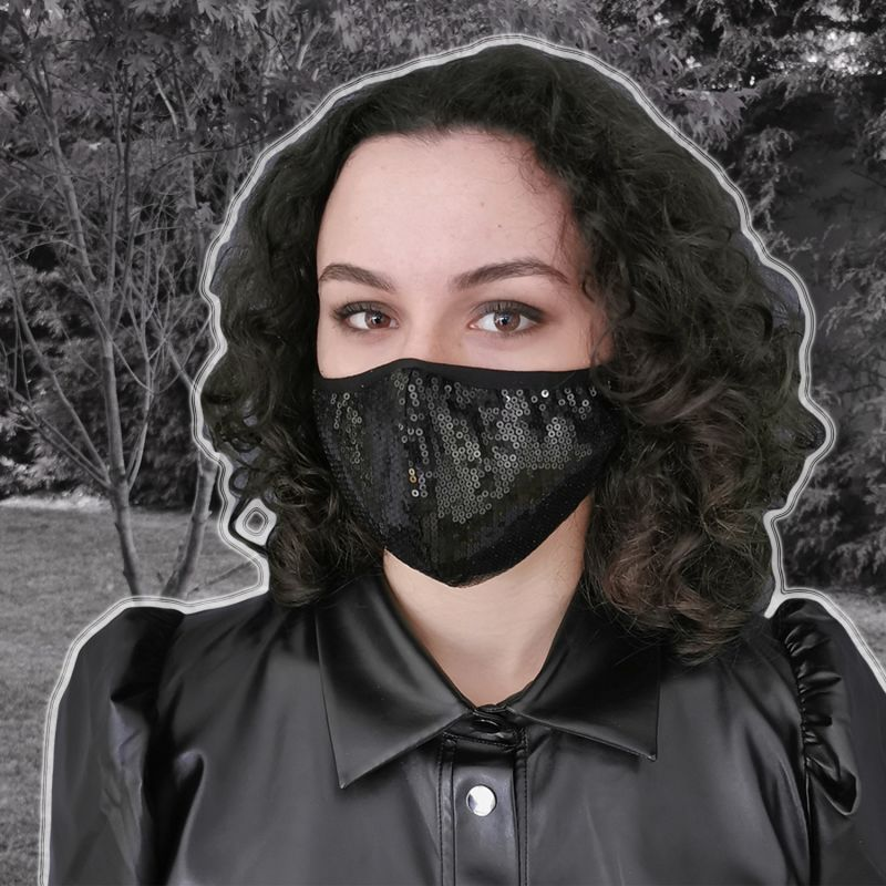 Triple Layer Sequined Face Mask - Black Sequin image