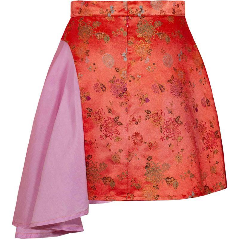 Asymmetric Flare Mini Skirt Red Brocade image