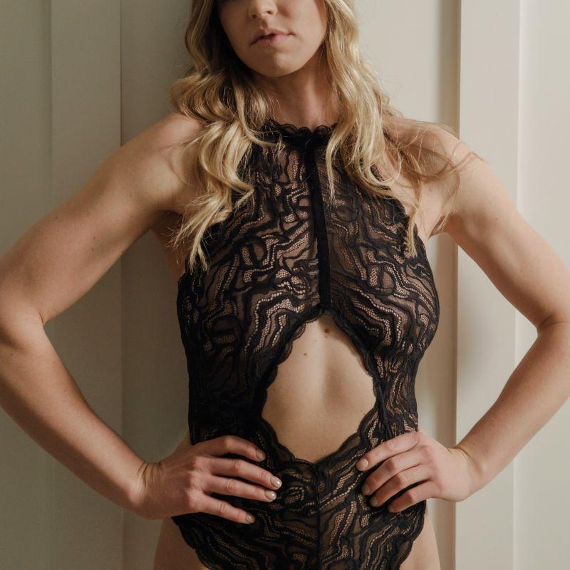 Serena Halter Lace Bodysuit image