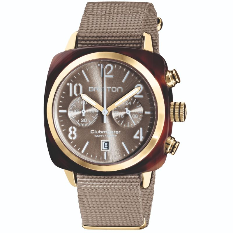 Briston Clubmaster Classic Chronograph Tortoise Shell Acetate, Sunray Grey Taupe Dial And Yellow Gold image