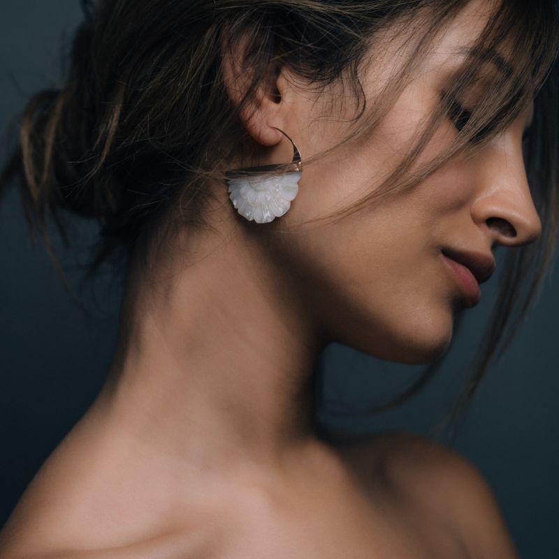 Hand Carved Mother Of Pearl Rose Hoop Earrings image